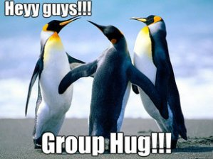 penguins group hug